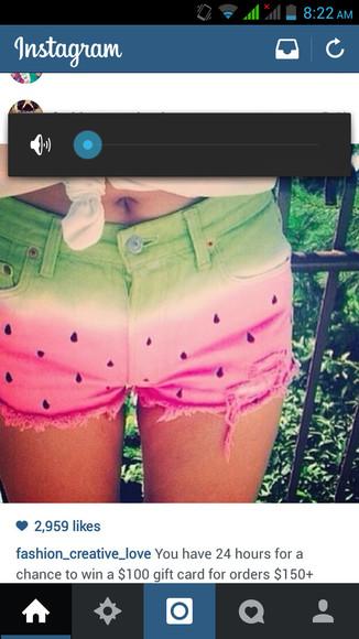 vibrant green watermelon print watermelon shorts