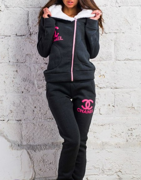 pants jacket chanel sweatpants hoodie tracksuit winter outfits