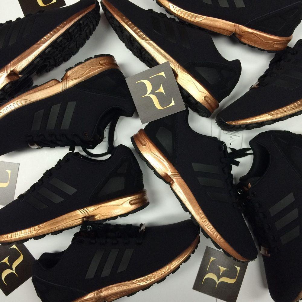 Adidas ZX Flux Black Copper Rose Gold trainers S78977 - RARE ... 4b763d12e