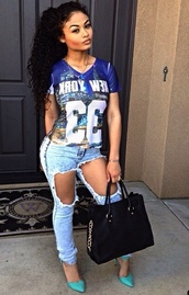shirt,india westbrooks,jeans,top,blouse,t-shirt,blue shirt,black girls killin it,baddies,bad bitches link up