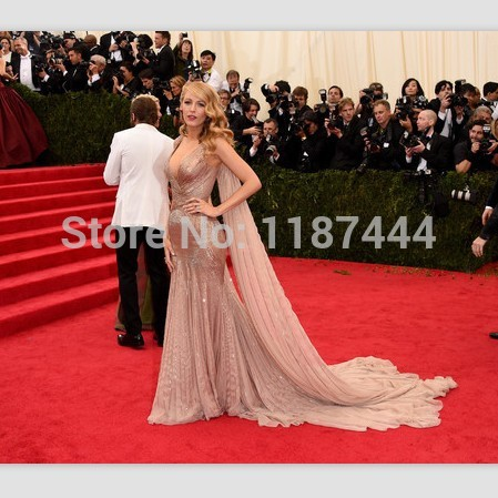 Blake lively 2014 met gala evening dress red carpet celebrity prom gown formal skirt free shipping