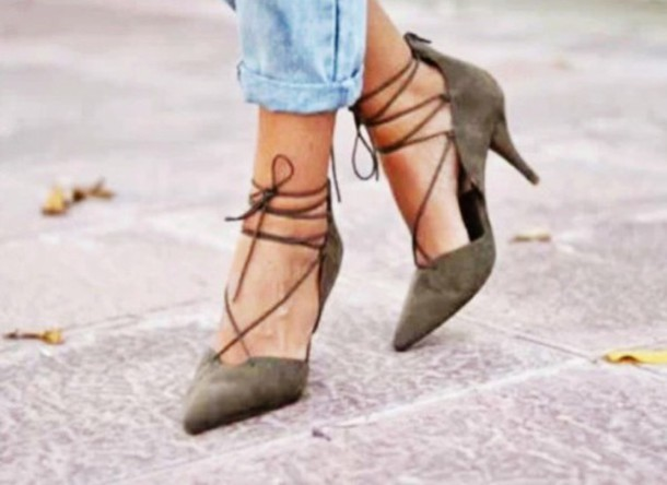 shoes zara shoes lace up heels zara khaki heels