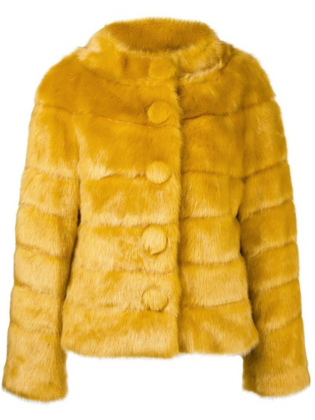 Twin-Set jacket faux fur jacket fur jacket fur faux fur women yellow orange
