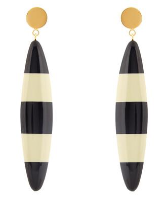 long earrings white black jewels