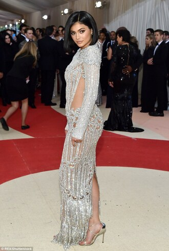 dress kylie jenner diamonds silver gown evening dress