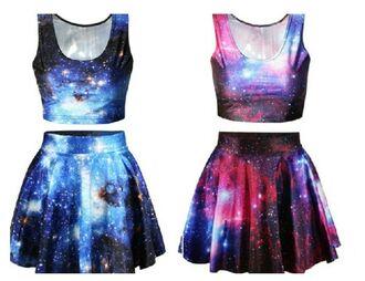 dress galaxy dress galaxy print two piece dress set