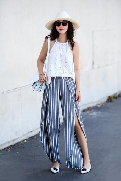 ffd74287ccb5 fit fab fun mom blogger slit boho pants wide-leg pants stripes striped  pants white