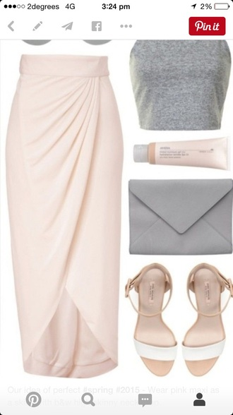 skirt blush pink wrap