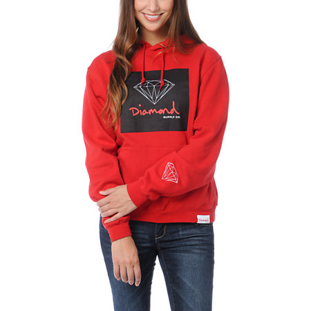 Diamond Supply Girls OG Sign Red Pullover Hoodie at Zumiez : PDP
