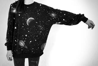 sweater space galaxy print moon hipster