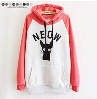 sweater cats white pink