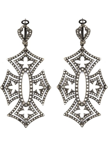 Loree Rodkin cross women earrings black jewels