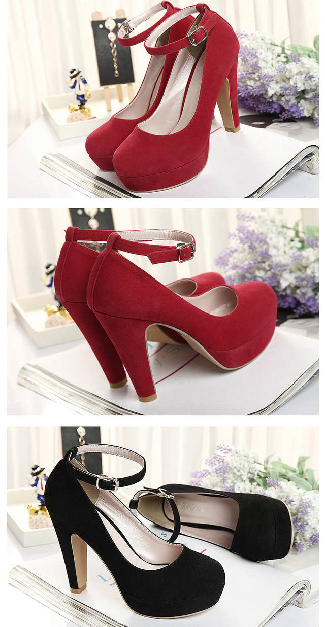 New arrival high thick heels platform shoes ankle strap black blue red chunky heel women's shoes for wedding bridesmaids office