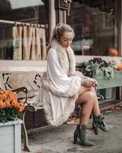 shoes,green boots,ted baker,boots,ankle boots,coat,white coat,cape
