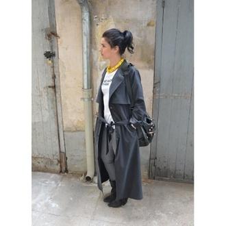 coat gray grey coat long coat trench coat trench jacket