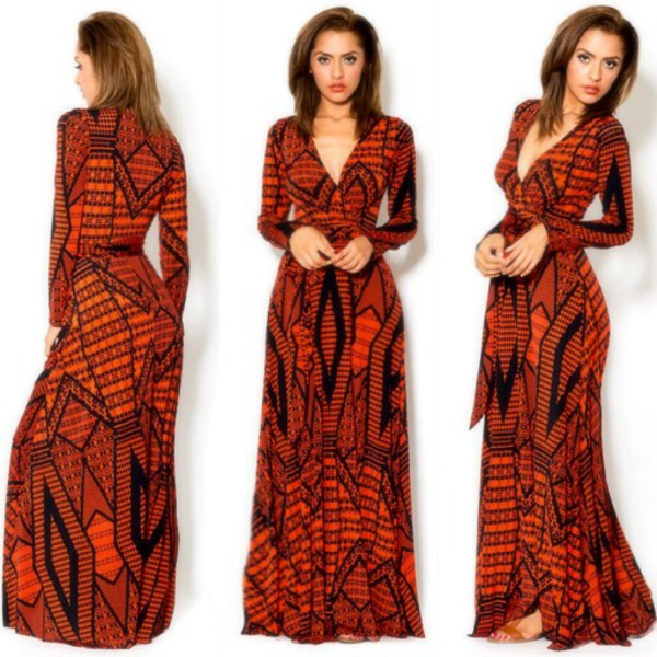 Fall Boho Chic Long Sleeves Wrap Maxi Dress Best Selling Size L 10 ...