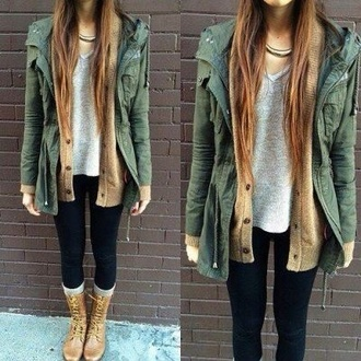 tumblr girl spring fashion fall outfits sweater style green outfit cardigan army green jacket jacket green jacket coat