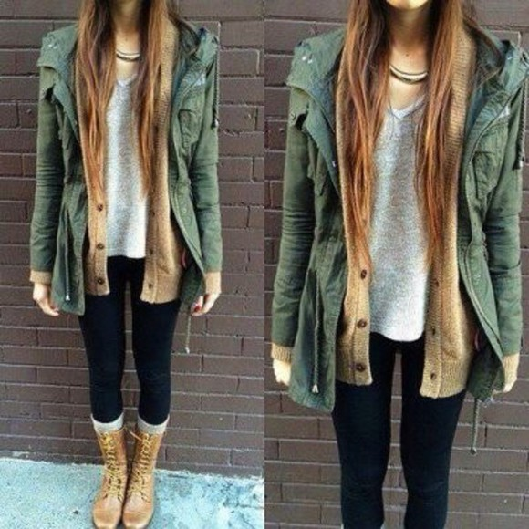 cardigan army green jacket tumblr girl spring fashion fall outfits sweater style green outfit