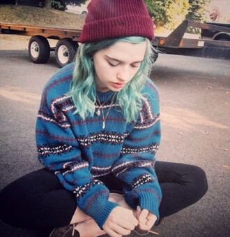 sweater tumblr girly blue blue sweater winter outfits hipster hippie stripes oversized oversized sweater jumper knit pattern indie blue hair
