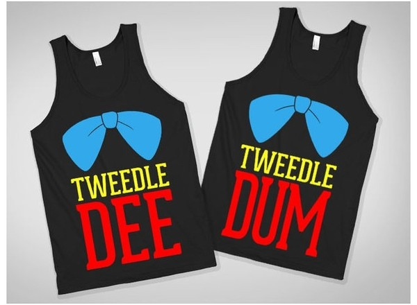 tank top tweedle dee tweedle dee bff tank top shirt cute shirt