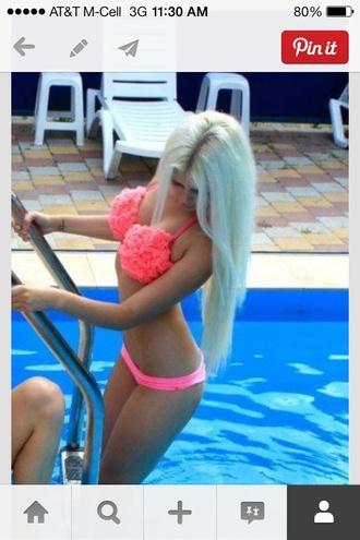 swimwear bikini pink pink bikini swimsuit coral