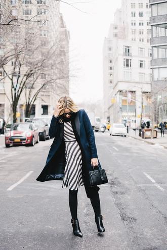 damsel in dior blogger coat scarf striped dress blue coat navy