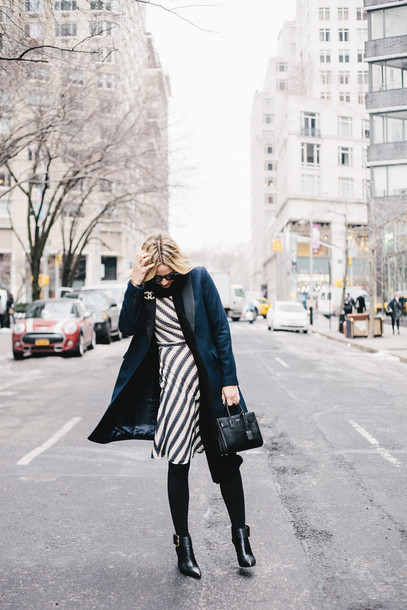 damsel in dior blogger coat scarf striped dress blue coat navy