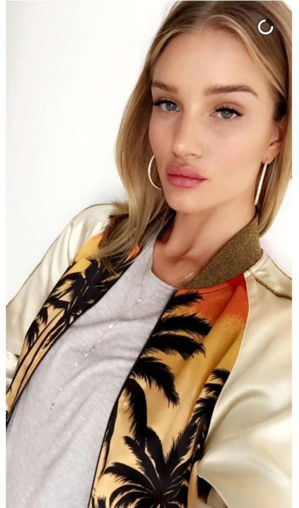 top jacket bomber jacket rosie huntington-whiteley snapchat satin bomber