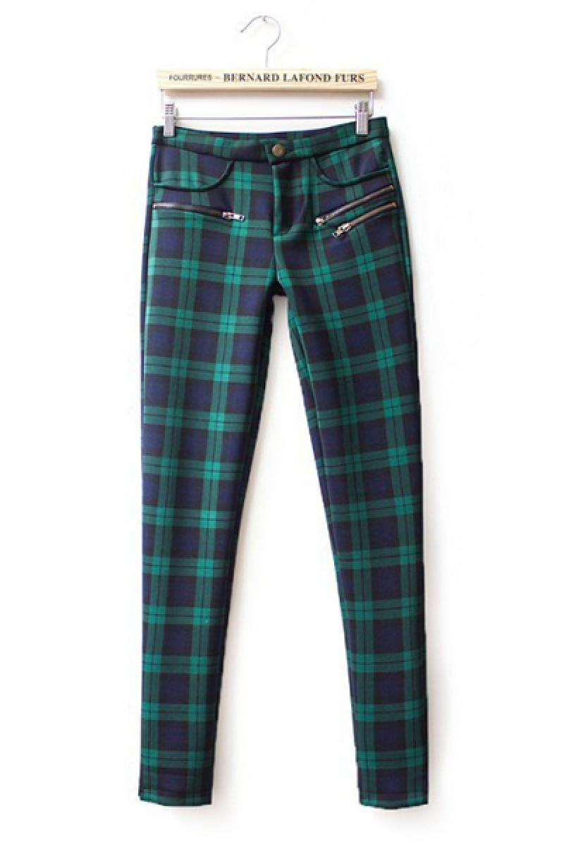 Autumn & Winter New Section Plaids Two Sides Zippers Pockets Pants,Cheap in Wendybox.com