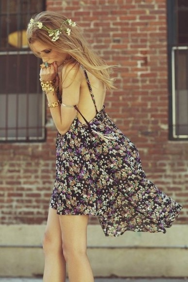 floral dress printed dress daisy dress open back casual dress casual dresses