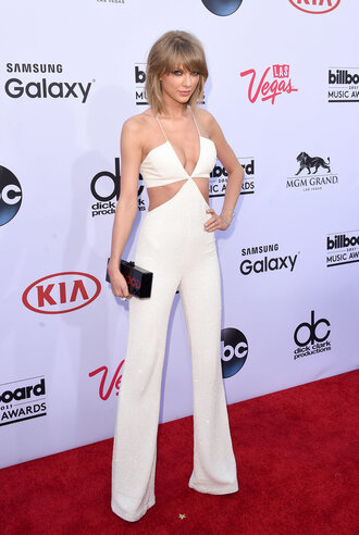 jumpsuit billboard music awards taylor swift cut-out white sparkly shoes sandals clutch bag