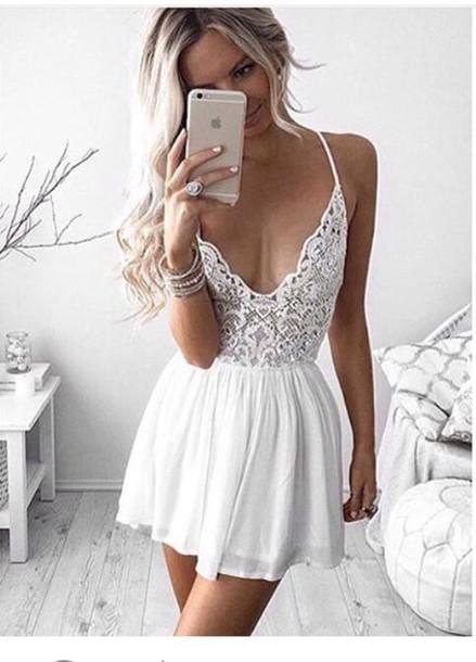 dress white dress lace dress cute lace white short dress lace romper romper white romper strappy white lace dress little white dress