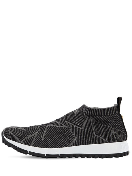 JIMMY CHOO 30mm Norway Glittered Sock Sneakers in grey