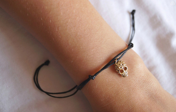 skull jewels grunge bracelet rock leather