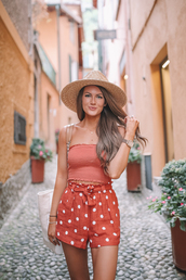 southern curls and pearls,blogger,shorts,top,bag,shoes,hat,jewels,polka dots,red shorts,sun hat,summer outfits
