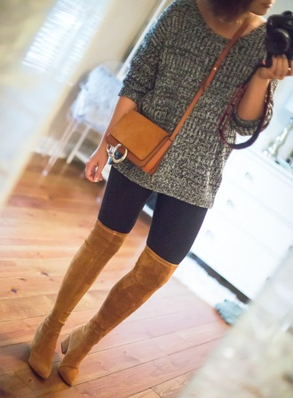 life & messy hair blogger shoes sweater leggings bag crossbody bag grey sweater boots thigh-high boots fall outfits
