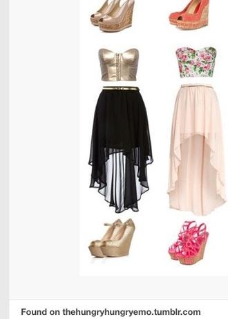 skirt high low skirt black gold blouse