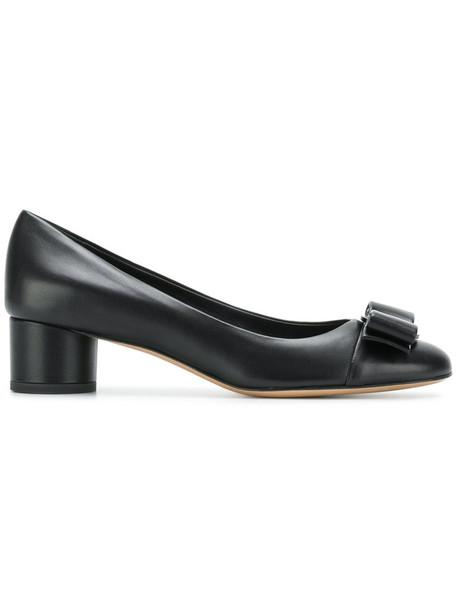 Salvatore Ferragamo bow women pumps leather black shoes