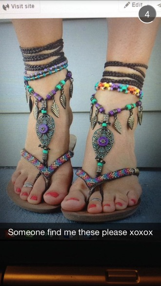 shoes flat sandals cute sandals flip-flops tribalprint