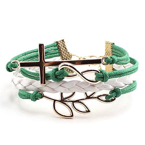 [grxjy51201214]Cross Leaf Pendant Multistrand Braded String Charm Bracelet