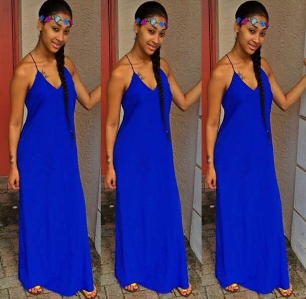 dress sundress cobalt blue blue dress maxi dress summer dress