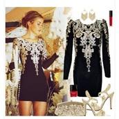 dress,black dress,gold sequins,lowback dress