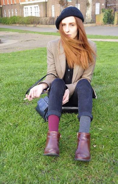 bag hat boots brown black