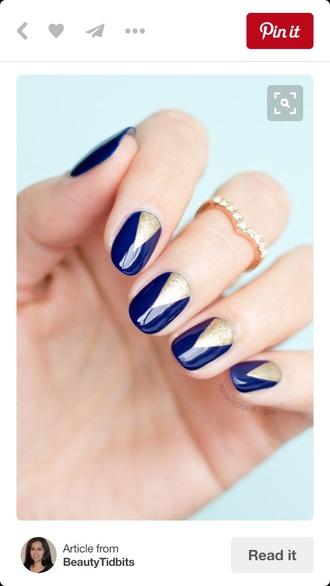nail accessories navy blue nail art nails gold nails beautiful ring prom homecoming diy easy simple nails nail polish prom beauty wedding beauty