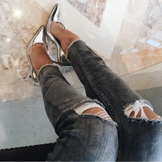 silver heels pumps pointed toe