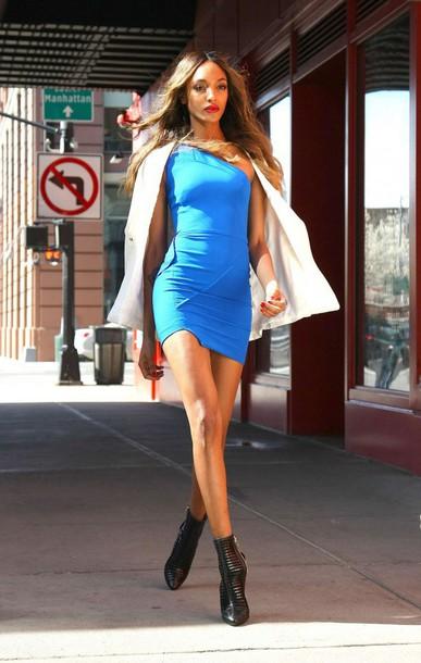 8a2d602d4a1d6 dress blue blue dress jourdan dunn ankle boots jacket blazer model spring  outfits mini dress bodycon