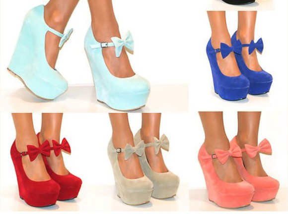 mary jane bows bright wedge