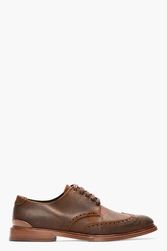 brogues leather shoes brown menswear casual shoes distressed archer blind
