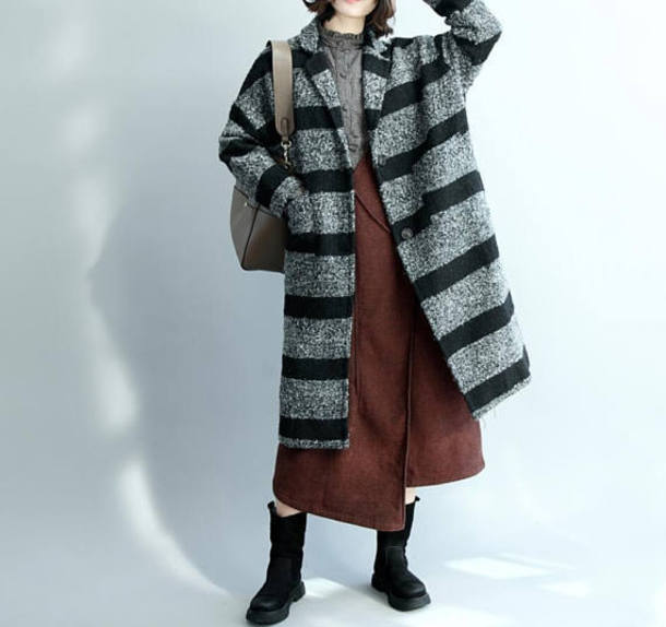 coat wool coat large size maxi coat