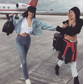jeans,shirt,bella hadid,model off-duty,crop tops,hailey baldwin,denim jacket,denim,instagram